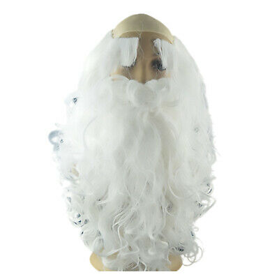 Father Christmas Santa Claus Wig and Beard Adult Fancy Dress Costume I9Z