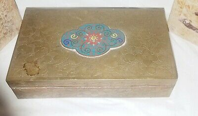 Antique Chinese Engraved Brass & Cloisonne Box