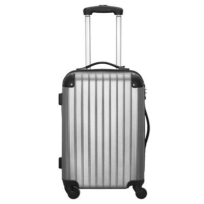 Set Of 3 Travel Bag ABS Trolley Spinner Suitcase With TSA Lock Silver Gray GA