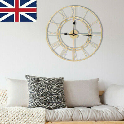 Large Skeleton Home Garden Wall Clock Roman Numeral Modern Metal Round Art Decor