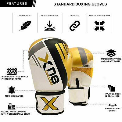 XN8 Boxing Gloves Punch Bag MMA Training Muay Thai Sparring Kickboxing 16oz UK