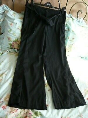 M&S Black Trousers With Removeable Tie Belt Size 12