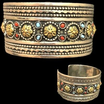Ancient Silver Decorative Gandhara Bedouin Torc With Mixed Stones 300 B.C. (1)