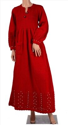 Tcw  Vintage Fabric Woolen Hand Knitted Beaded Long Top Fashion  Red