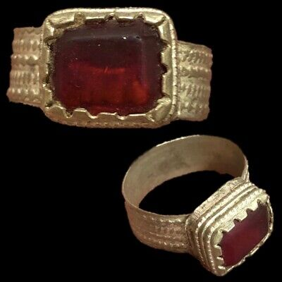 Stunning Top Quality Post Medieval Silver Ring With Red Stone (2)