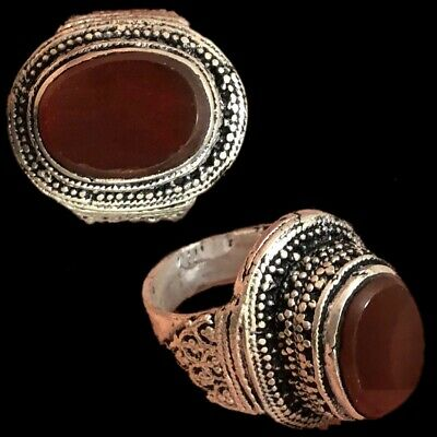 Stunning Top Quality Post Medieval Silver Ring With Carnelian Stone (2)