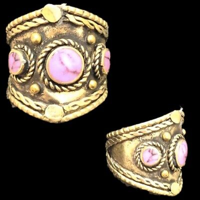 Ancient Silver Decorative Gandhara Bedouin Ring With Pink Stone (1)