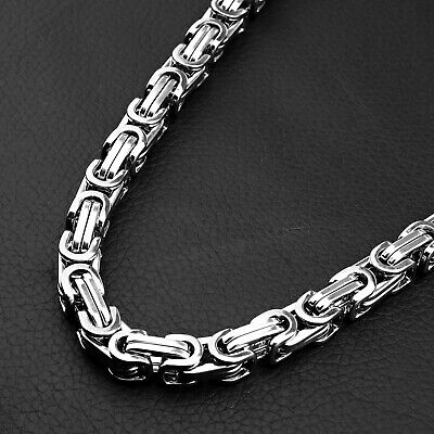 8mm Men Women Chain 316L Stainless Steel Byzantine Box Link Necklace & Bracelet