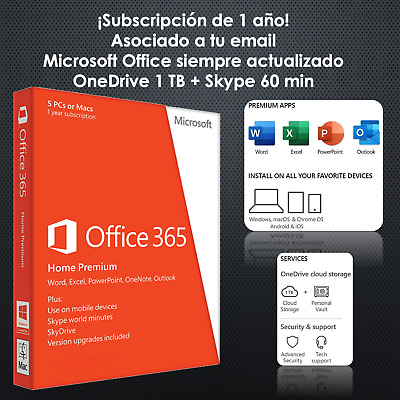 Office 365 Home - 1 año - ¡Asociado a tu email! - Windows, Mac, iPad, Android