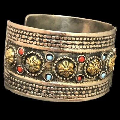 Ancient Silver Decorative Gandhara Bedouin Torc With Mixed Stones 300 B.C. (4)