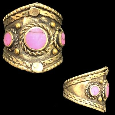 Ancient Silver Decorative Gandhara Bedouin Ring With Pink Stone (2)