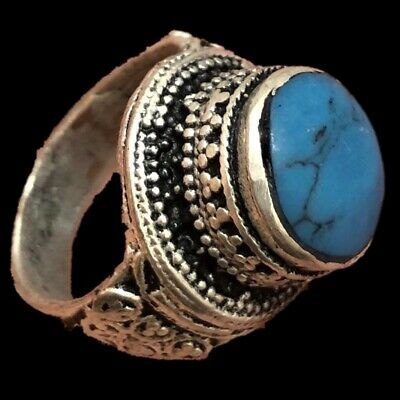 Stunning Top Quality Post Medieval Silver Ring With Blue Stone (5)