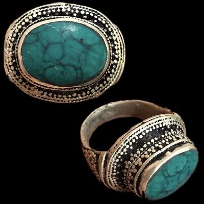 Stunning Top Quality Post Medieval Silver Ring With Green Stone (6)
