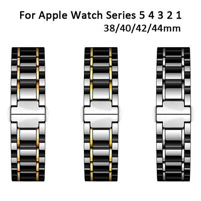 Ceramic Steel Watch Band Strap For Apple Watch 38/40/42/44mm iWatch Series 5 4 3