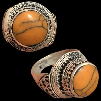 Stunning Top Quality Post Medieval Silver Ring With Orange Stone (7)
