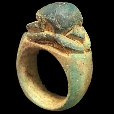 Beautiful Ancient Egyptian Scarab Ring 300 Bc (1)