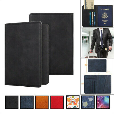 Leather Passport Case Holder RFID Blocking Travel ID Credit Card Wallet Cover US