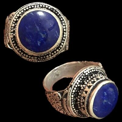Stunning Top Quality Post Medieval Silver Ring With Lapis Stone (8)