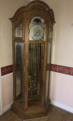 Fantastic Ornate Briton Corner Grandfather Clock Oak With Shelves, Chime