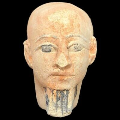 EGYPTIAN BUST STATUE, LATE PERIOD 664 - 332 BC (4) Large Over 14 Cm
