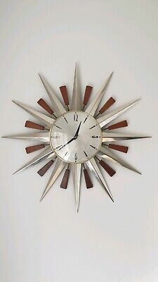 Metamec Starburst Sunburst Wall Clock chrome mid century 1960s