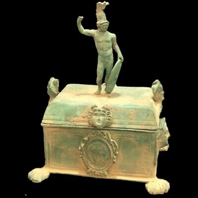 Very Rare Ancient Roman Bronze Huge Jewellery Box With Appliques. Large !!!!!!!!