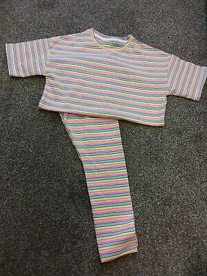 Girls Pyjamas Age 6 Next White Multi Stripe rainbow colours