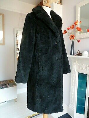 URBAN OUTFITTERS BLACK FAUX FUR TEDDY COAT - BRAND NEW FROM AMERICA - Size S