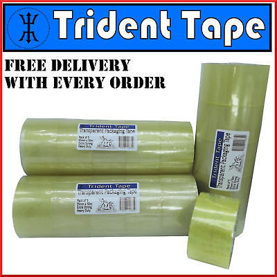 Clear Packing Tape Extra Strong 55m x 50m - 5 Rolls - TRIDENT TAPE - PACKAGING