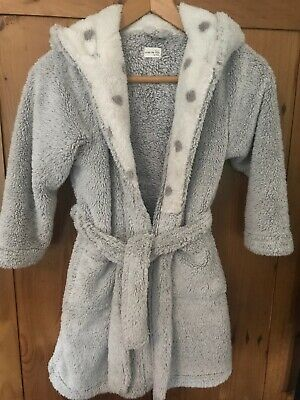 Girls NEXT Animal Hood Design Fleece Dressing Gown in Silver Grey Age 7-8yrs wit