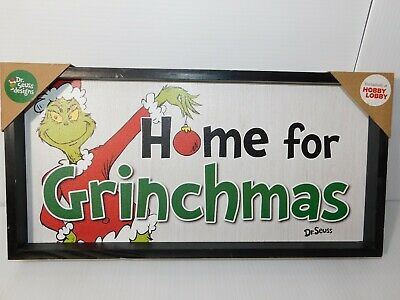 "New Dr. Seuss The Grinch Who Stole Christmas ""Home for Grinchmas"" 9"" X 18"""