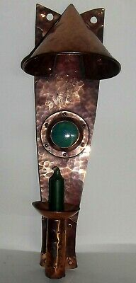 Arts & Crafts Copper Sconce With Ruskin Cabochon