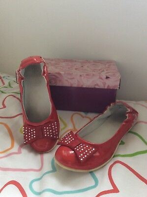 Girls Lelli Kelly red patent leather pumps sequins bow shoes EU 31 UK 13