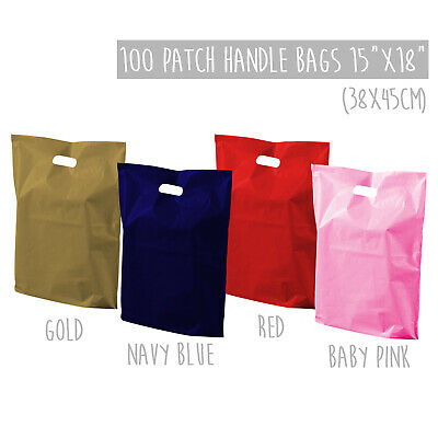 """100x Large Strong Plastic Carrier Bags Coloured Patch Handle Bags 15x18"""" Retail"""