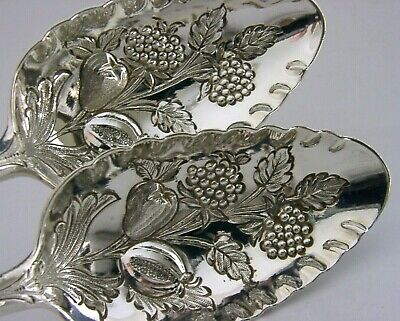SUPERB GEORGIAN STERLING SILVER BERRY SERVING SPOONS 1787-93 ANTIQUE 132g