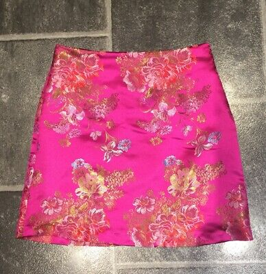 New Look Girls Cerise Pink Oriental Print Fitted Skirt Age 12