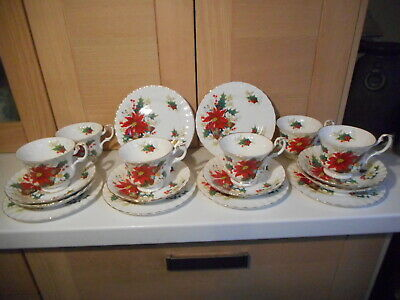 Royal Albert Poinsettia Christmas 6 Cups Saucers And Plates Trios