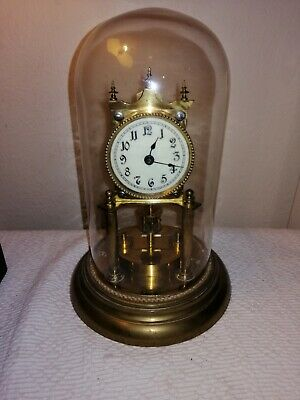 Juf Standard Early Anniversary Clock in Glass Dome, Disc Pendulum, Serial 71436.