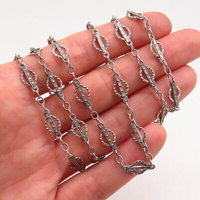 Antique Victorian 925 Sterling Silver Handcrafted Collectible Chain Necklace