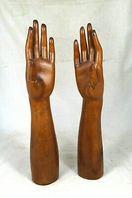 Rare Pair Antique Artist Mannequin Carved Wood Hand Model Store Display