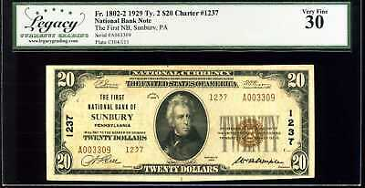 1929 $20 First National Bank of Sunbury PA Fr.1802-2 Ty.2 Ch#1237 VF #A003309
