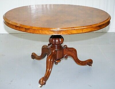 Victorian Burr Walnut Tilt Top. Loo Table With 3 Carved Legs Circa 1860