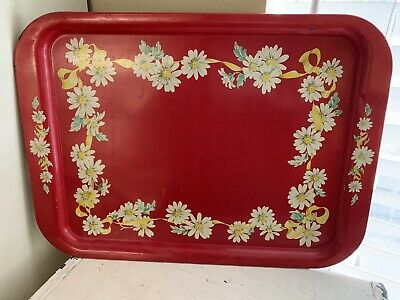 """Vintage Red Tole Painted Metal Tray~Daisies~White & Yellow Flowers Tin 17.5""""x13"""""""