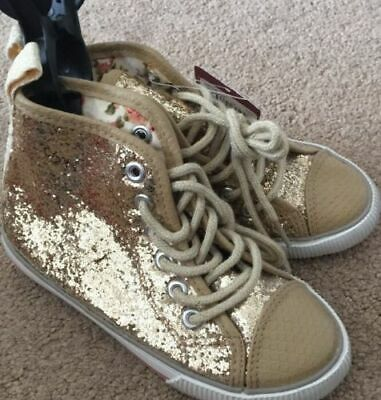 Girls Gold Glitter Hi Tops Trainers Shoe Boots Laces Sparkle Size 10 Party Xmas