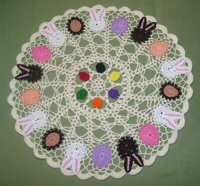 New Hand Crocheted Easter Doily Bunnies, Eggs Candy 16 inches