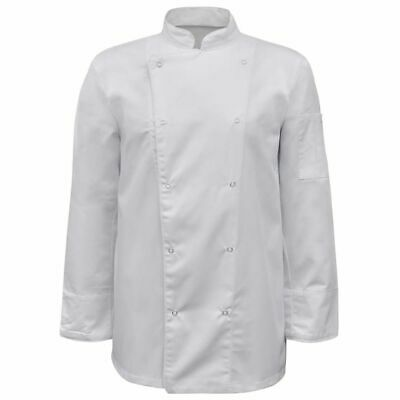 vidaXL 2x Chef Jackets Long Sleeve Size XL White Coats Wearing Cook Uniforms