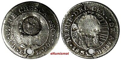 Costa Rica Silver 1850's 1/2 Real Countermarked on Central American Repub. KM 68