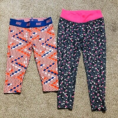 Lot 2 Nike Athletic Activewear Bottoms Leggings And Crops Youth Girls Size 6