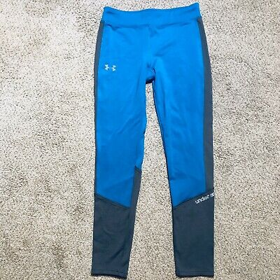 UNDER ARMOUR Girls Cold Gear Storm Infrared Athletic Leggings Size Youth L Blue