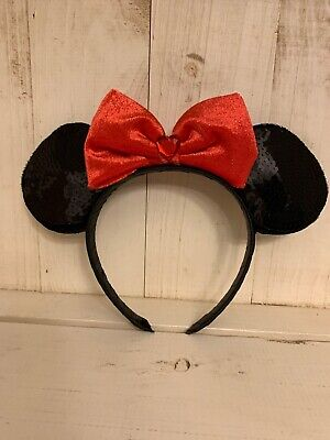 Disney Parks Minnie Mouse Sequin Black Ears Headband Red Sparkly Bow - New